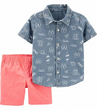 2-Piece Beach Chambray Button-Front Top & Canvas Short Set